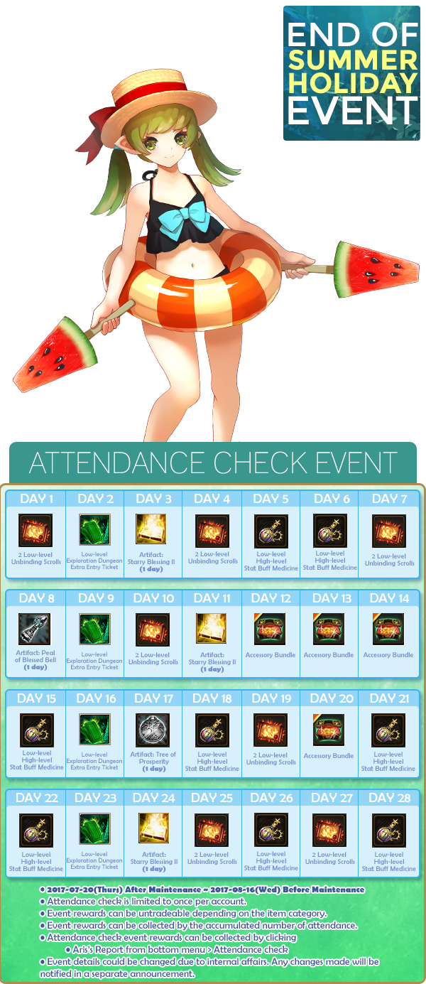 August Attendance Check Event